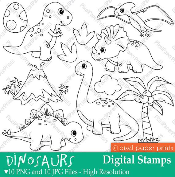 Dinosaurs Digital stamps by pixelpaperprints on Etsy, $5.00