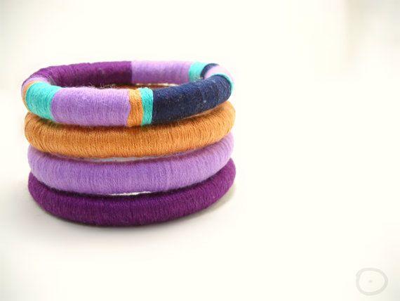 Set of 4 Stacking Bangles Semi-Rigid Bracelets in by FridaWer