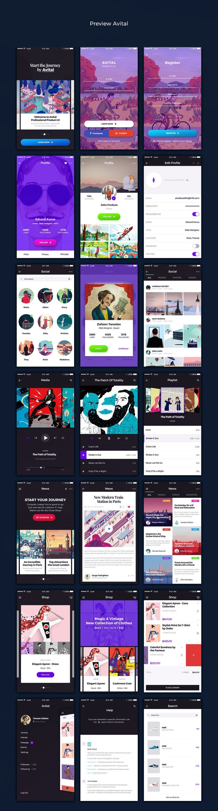 """Hi guys! Goodies Time)The work on the project AVITAL.A small """"Elite"""" set Ui Kit for your projects. All for You, Dear!A professional mobile kit of 21…"""