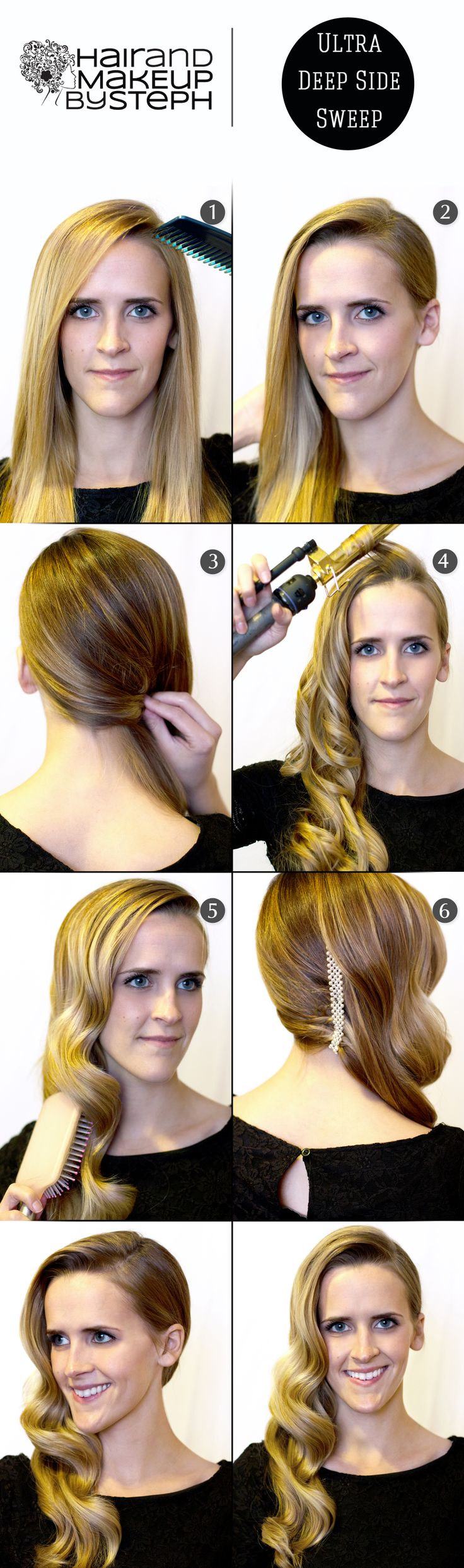 Top Pinner @Stephanie Brinkerhoff Ultra Deep Side Sweep Step-by-Step for Prom, Weddings, or the Weekend! Steps via blog.hairandmakeupbysteph.com #Sephora