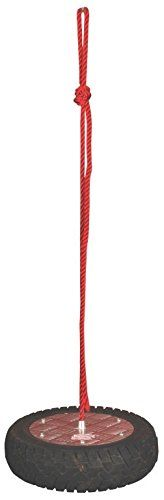 Esschert Design Classic Tire Swing. Perfect for children of most ages; Use all safety reasonable precautions. Tire Swing 16.029 inch 16.029 inch 3.9In. Recycled Rubber tire, Red Nylon Rope And Aluminum Seat Plate; For children.