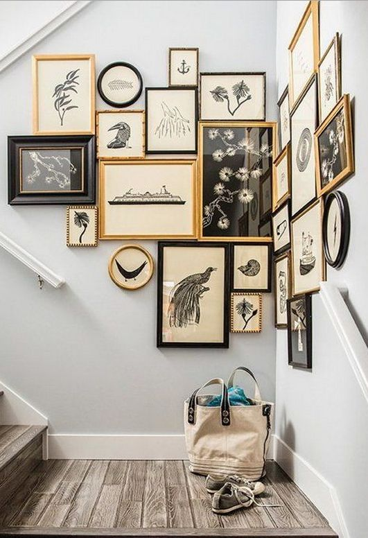 A mix and match art collection of two different themes is sometimes all that is needed to create a balance on a stairwell wall. ------------------------ #stairwell #stairs #steps #gallery #wall #pictu (Two Step Stairs)