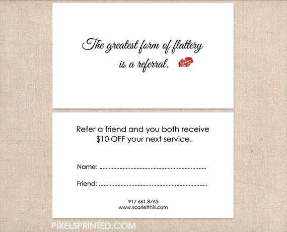 Best Referral Cards Images On   Salon Marketing