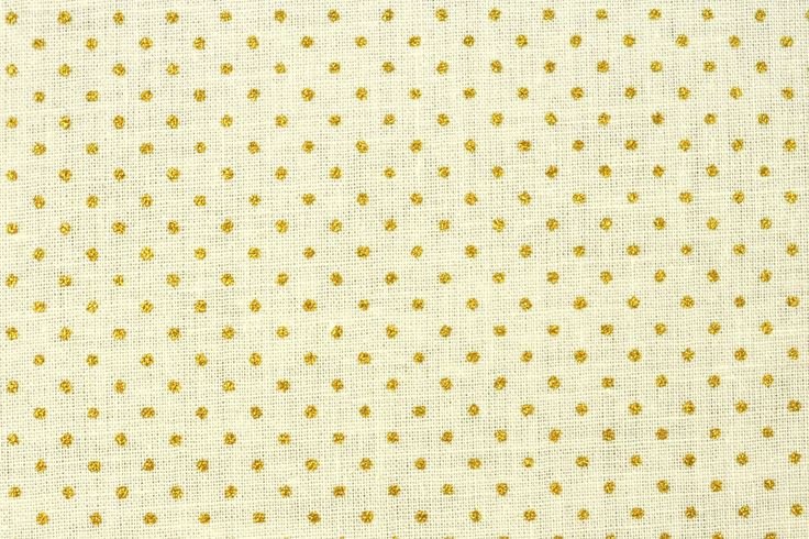 Baumwoll-Dekorationsstoff - Goldtupfen - Creme