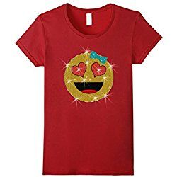 Women's Valentine's Day Emoji Face T-Shirt for Kids and Women Small Cranberry