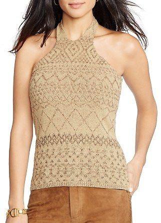 Lauren Ralph Lauren Arlynn Textured Pattern Knit Halter Top