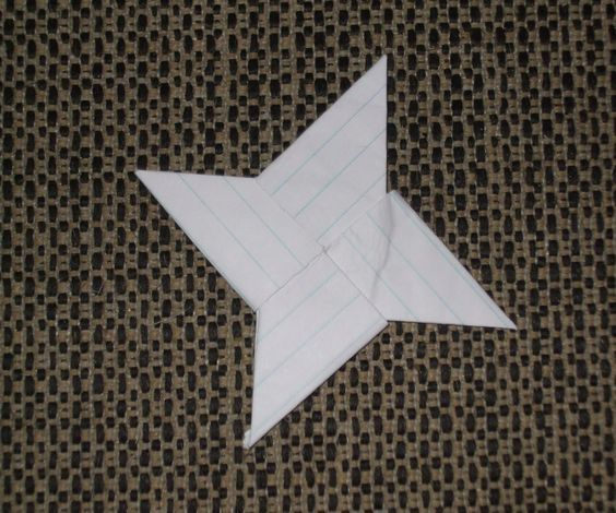 This is a simple way to make a chinese throwing star!  You can use different kinds of paper to make your star.  Notebook paper is shrper, but it does not have much weight.  Printer paper I think is a good selection.  It has weight and some sharpness.