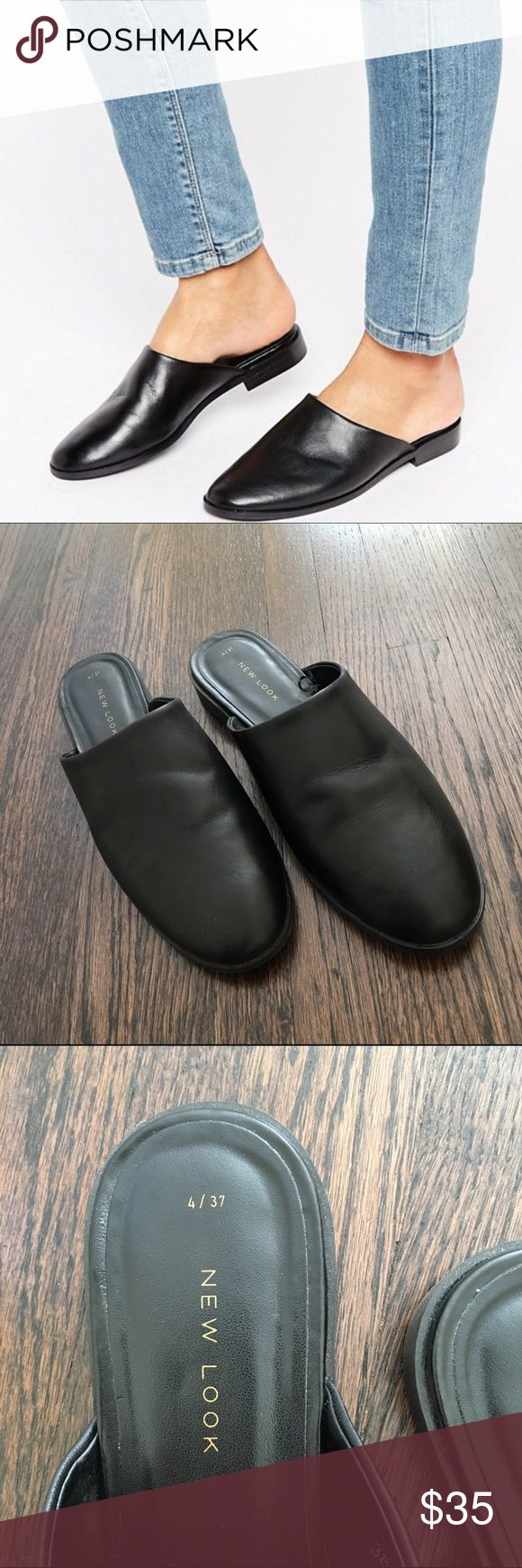 Black Leather Mules Black leather mules in excellent condition. Rarely worn. Top is real leather. ASOS Shoes Mules & Clogs
