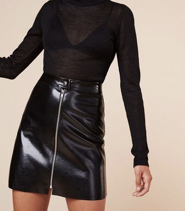 Reformation black patent mini skirt