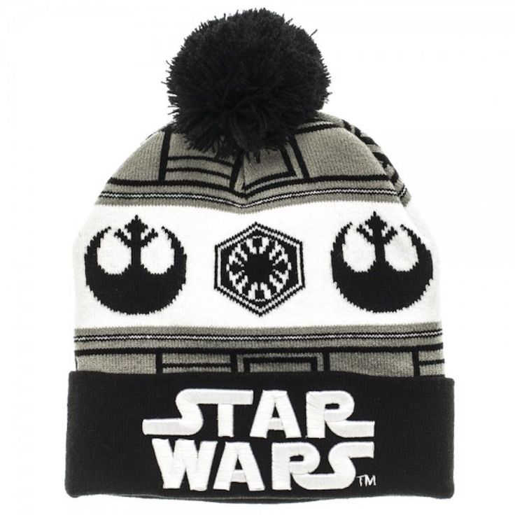Star Wars 7 VII Embossed Logo vs Fairisle Cuff Knit Beanie Hat New Licensed Disney Acrylic New With Tags
