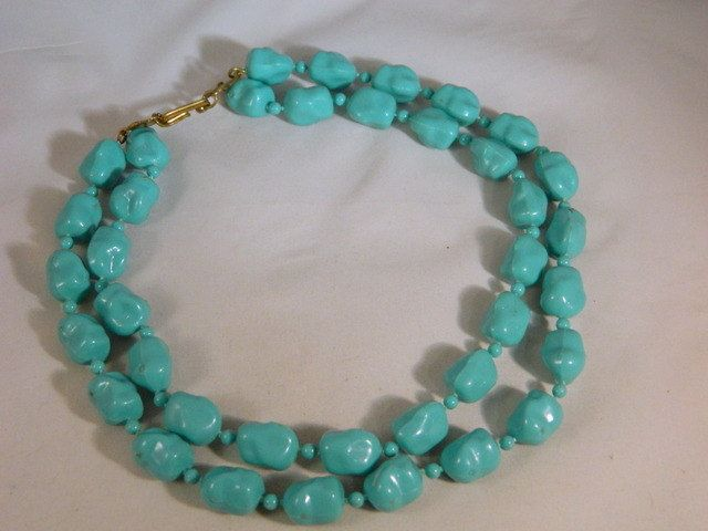 Vintage 1950s Faux Turquoise Multi Strand Necklace / Teal Bead Choker Style Necklace / Two Strand Necklace by VintageBaublesnBits on Etsy