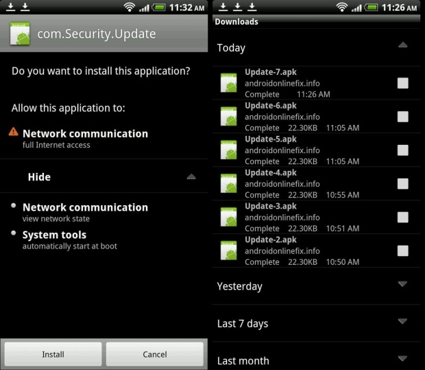 Semi drive-by download Android malware