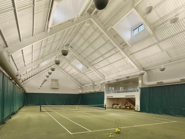 Indoor Tennis Court of Arbor Hill Estate in Pennsylvania >> http://www.frontdoor.com/coolhouses/tennis-anyone-contemporary-estate-with-amazing-indoor-tennis-court?soc=pinterest