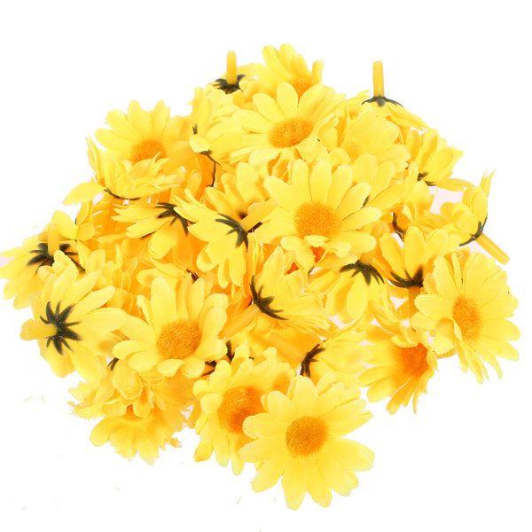 50 Pcs Sunflower Artificial Silk Flower Wedding Party Home Decor