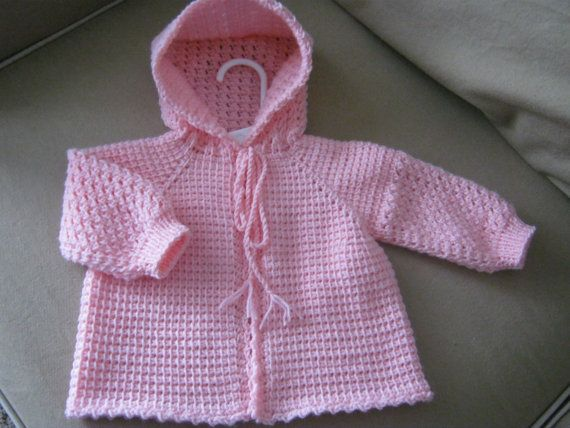 Pink Crochet Baby Sweater with Hood - 0-3 Months in Tunisian Crochet - Handmade