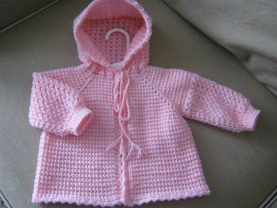 Rosa ganchillo suéter de bebé con capucha - 0-3 meses - hechos por encargo - tunecinos ganchillo - hecho a mano