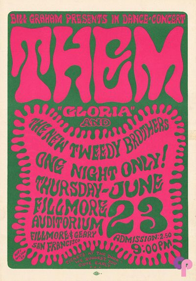 Wes Wilson: Them, Great Society, New Tweedy Brothers, Fillmore Auditorium, 6/23/66