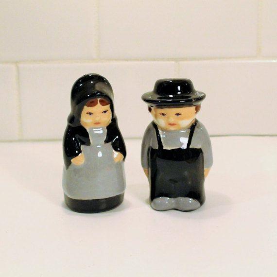 Salt and Pepper Shaker Ceramic Amish Salt and by ClockworkRummage