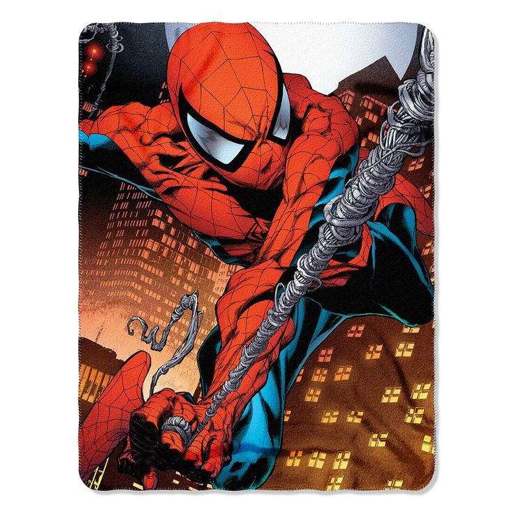 Spiderman Web Swing Fleece Throw, Multicolor