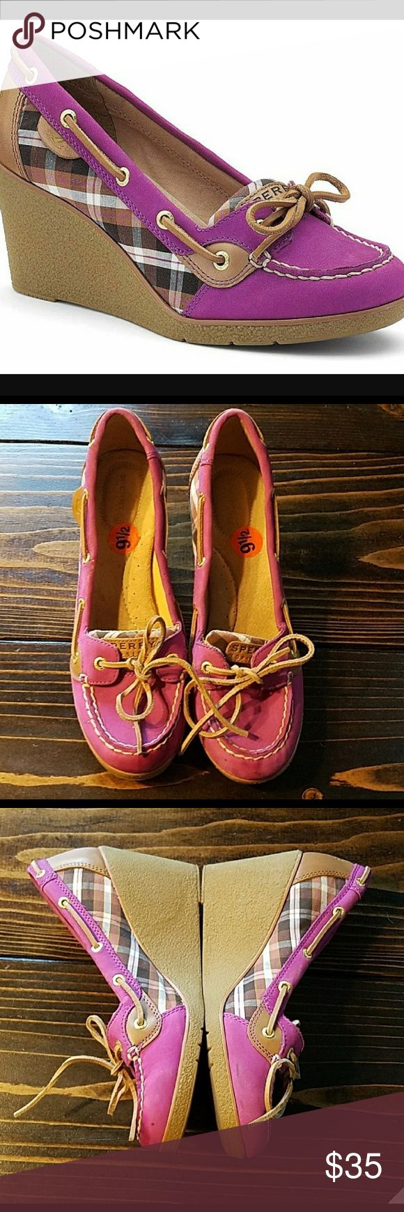 Women's Sperry Top Sider Wedge Heels Goldfish Pink Plaid Leather. Wedge 3 1/2 inches. Needs some cleaning on toe area(a couple minor spots) Soles are 99% tread. Send your look soaring with a wedge-heeled spin on this iconic boat shoe. Spring is just around the corner ladies!  Original price: $120 On sale: $69.99(pre-owned) Sperry Shoes Wedges