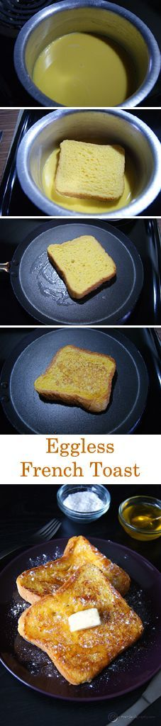 A super delicious and easy French Toast which requires only 5 ingredients and No Eggs. Perfect for your sunday breakfast. Vegans can use non dairy milk and butter.