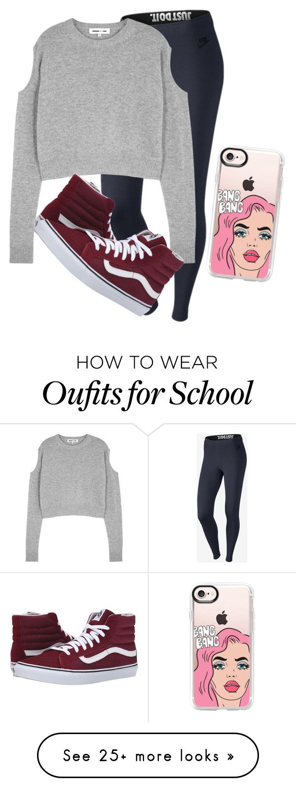 """Day 2 of school"" by anonest on Polyvore featuring NIKE, McQ by Alexander McQueen, Vans and Casetify"