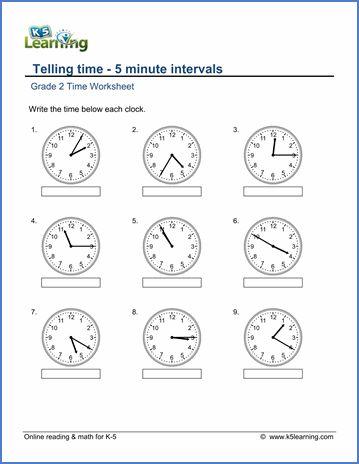Grade 2 Telling Time Worksheet On Telling Time 5 Minute Intervals Time Math Worksheets 2nd Grade Worksheets Worksheets