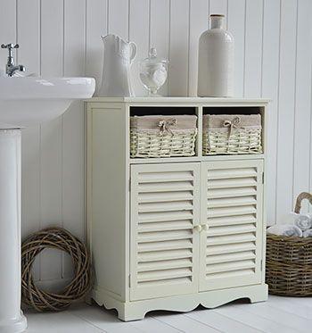Hamptons cream large bathroom cabinet with baskets