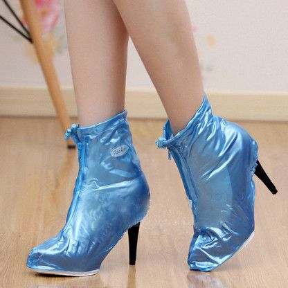 Fashionable Waterproof Rain High Heels Shoes Cover Women Rain Boots Waterproof Slip-resistant Overshoes Shoes Covers