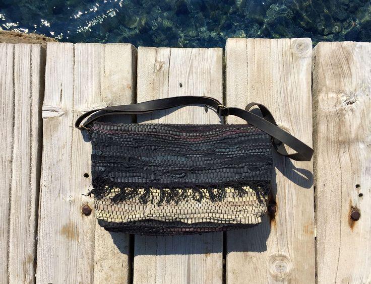 Leather messenger bag. Boho messenger with black leather handles. Vintage leather kilim. Bohemian shoulder handbag.Womens Gift made in Grece by ThatHandmadeStore on Etsy https://www.etsy.com/listing/505833406/leather-messenger-bag-boho-messenger