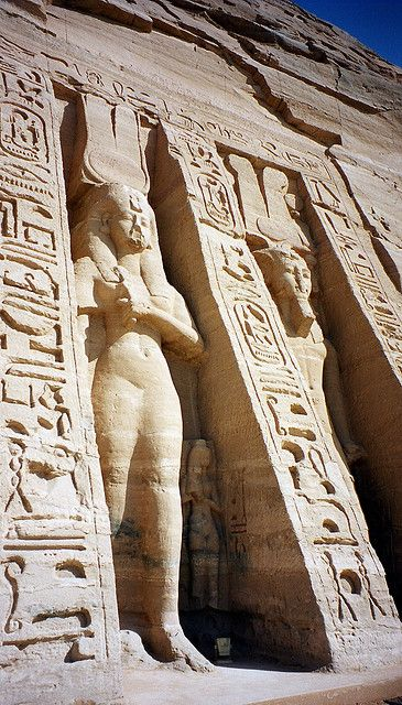 The Nubian monuments, constructed by Pharaoh Ramesses II (1300 BCE). Abu Simbel, Nubia, Egypt