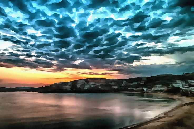 Sunset at the Beach. Batsi, Andros, Greece.