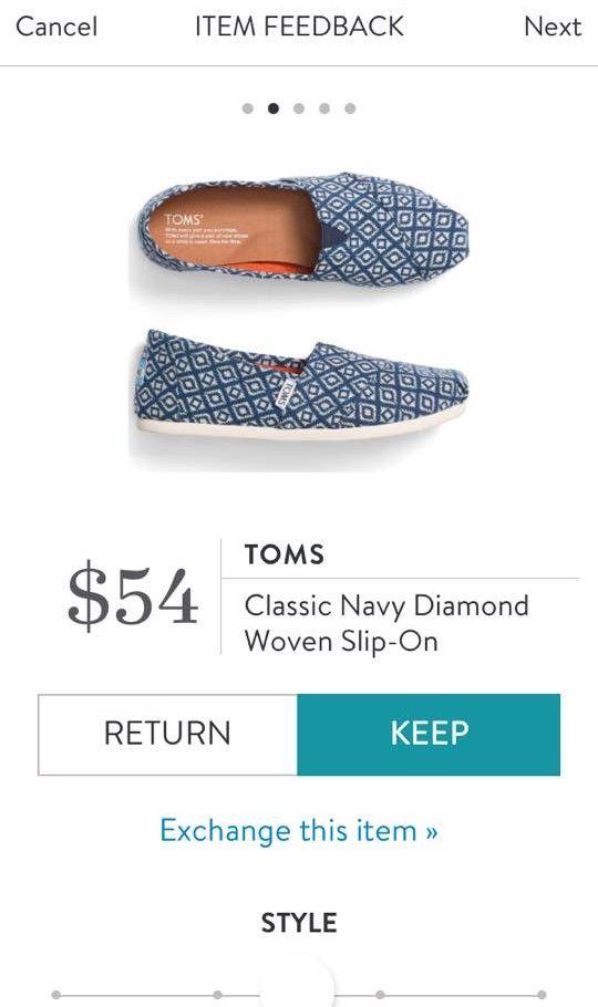 TOMS Classic Navy Diamond Woven Slip On from Stitch Fix. https://www.stitchfix.com/referral/4292370