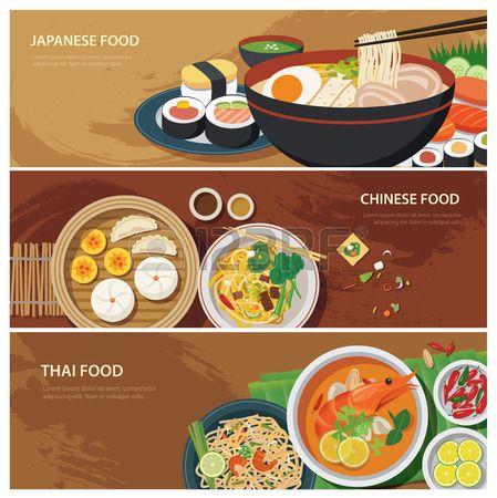 asia street food web banner thai food japanese food chinese food flat design Stock Vector