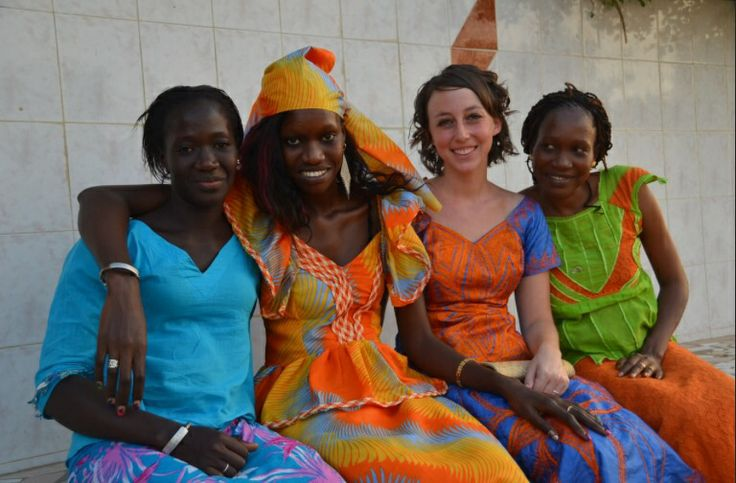 The fashion in Senegal is very bright and colorful. Everyone there loves the long patterned style.