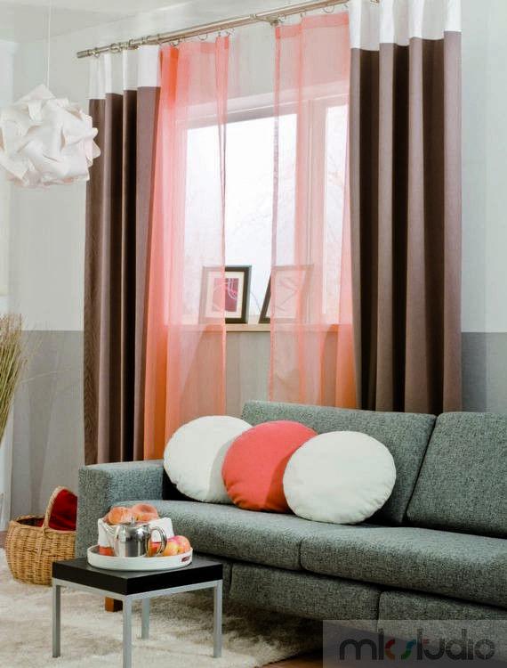 #wnętrze #salon #dekoracje #dekoracjeokien #interior #wnetrza #zasłony #firany #okno #okna #brąz #brązowy #brown #szary >> http://www.mkstudio.waw.pl/inspiracje/