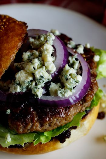 Beef Burgers with Bacon Jam & Gorgonzola I would definitely cook these burgers on the bbq.