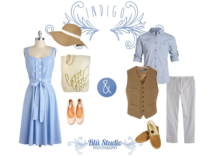 Engagement photo and portrait photography clothing guide to the colour blue / indigo for summer.