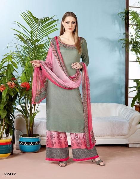 Partywear Kurti With Plazo Round Neck Style Embroidered Full Sleeves Palazzo Salwar SuitsShop now the #shoponlinepalazzosuits #suitswithpalazzo #palazzosuits #buypalazzosuitsforwomen's only at Ladyindia.com https://ladyindia.com/collections/palazzo-suits