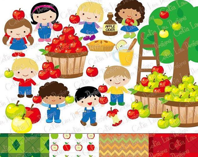 Apple picking Imágenes Prediseñadas, imágenes prediseñadas de otoño, cosecha Digital Clip art, manzana Clip art, clipart de niños lindos, elementos del otoño, Manzano (CG180)