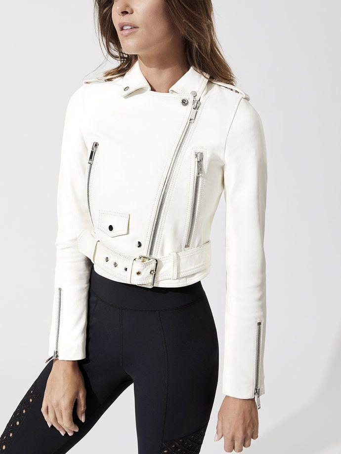 Lth Jkt Mya Cropped Biker White Jackets Leather Jackets Women White Leather Jacket Jackets For Women