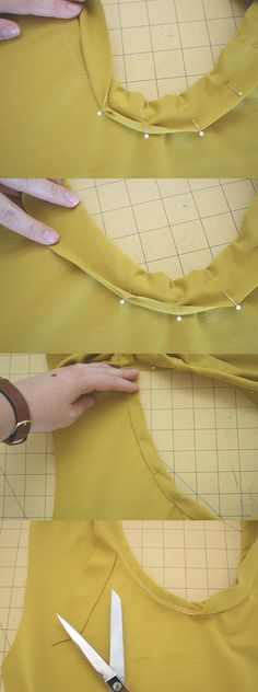 Standard method for sewing a jersey cotton knit neckline binding #Tricot #Naaien