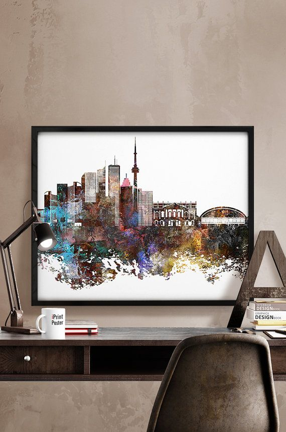 Toronto, Toronto print, Toronto poster, Canada, wall art, home decor, travel poster, city prints, abstract, skyline, distressed iPrintPoster