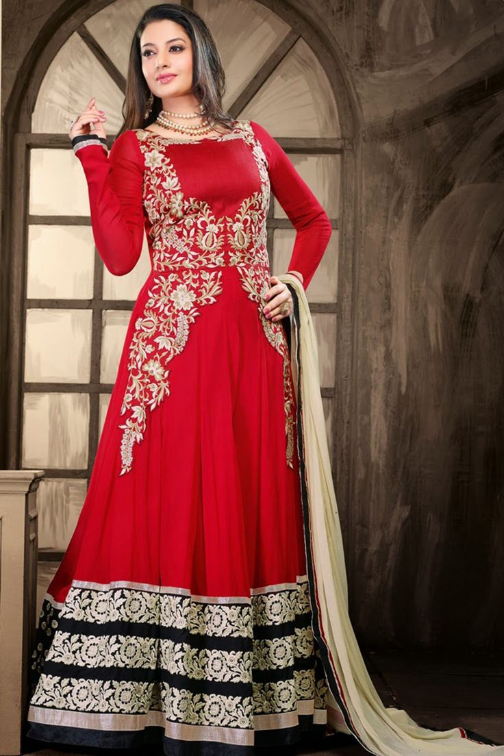 Look Pretty with Red Faux Georgette Anarkali Suit sku : Z2029P6007-4 Rs. 5149  #suits #suitsonline #anarkalis #anarkalisonline   http://zohraa.com/black-faux-georgette-anarkali-suit-z2029p6007-4.html