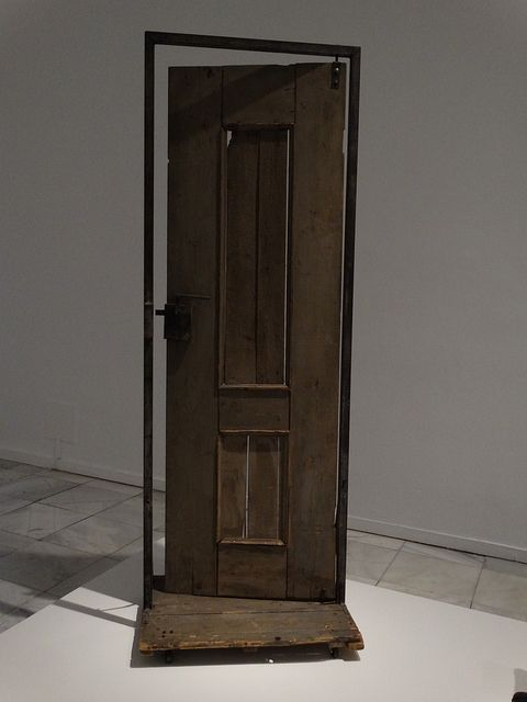 Tadeusz Kantor: Drzwi Adasia. This door gave entrance / to people in Poland / for more than a lifetime / and then / it opened a view to the world / as expressed by Tadeusz Kantor and Drzwi Adasia / in the piece Wielopole, Wielopole. // And we stand in awe. (Seen at Museum Sofia-Reina, Madrid)