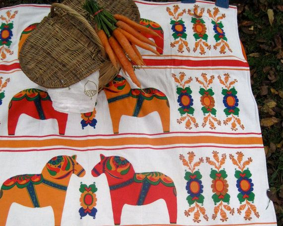 picnic blanket / upcycled vintage Scandinavian Dala horses in red and orange   (SewnNatural on Etsy)