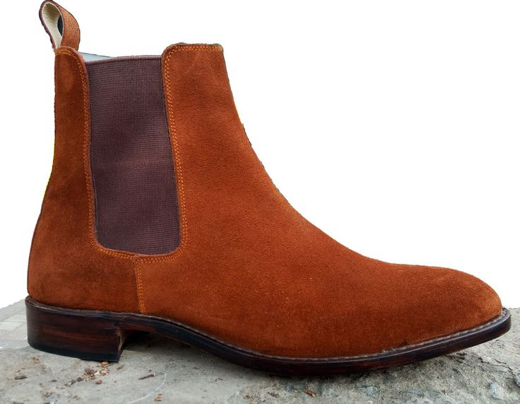 Handmade Chelsea Suede Brown Boots Leather Sole Boots Formal Dress Boots #Handmade #Chelsea