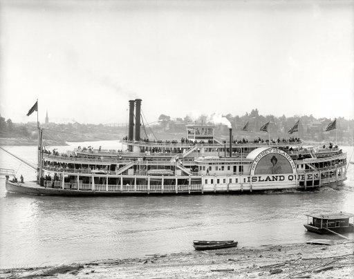 "The Ohio River circa 1906. ""Coney Island Co. sidewheeler Island Queen at Cincinnati."""