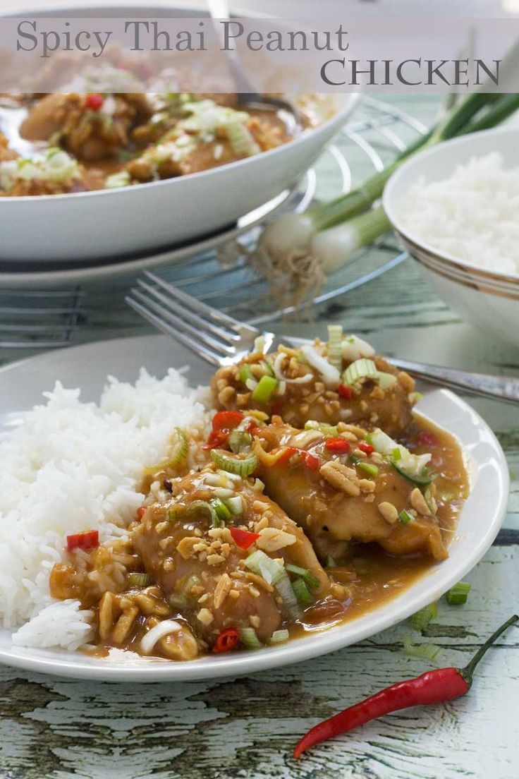 Chicken thighs drenched in a delicious spicy Thai-style peanut sauce. All made in one pot. Takes only 10 minutes to make and 35 minutes to bake!