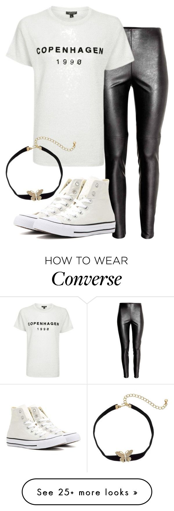 """""""bria insp"""" by bekahtee on Polyvore featuring Topshop, Converse and Kenneth Jay Lane"""
